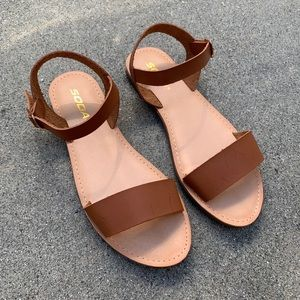 Soda Women Tan Single Strap Sandal
